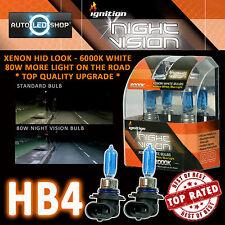 IGNITION 9006 HB4 80W NIGHT VISION SUPER WHITE XENON HID HEADLIGHT BULBS 6000K