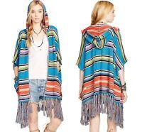Ralph Lauren denim supply Cardigan SWEATER Aztec poncho fringe tribal jacket