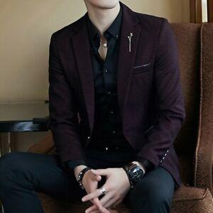 Men's Dress Formal Jacket One Button Lapel Coat Slim Fit Wedding Business Blazer