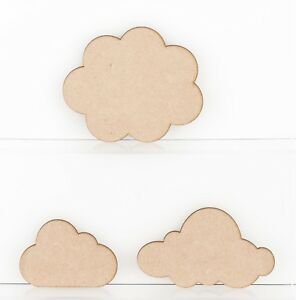 Wooden MDF Cloud Shapes 3mm Tags and Plaques Embellishments Decoration Craft