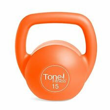 Tone Fitness Vinyl Kettlebell, 15lb, Sports Workout Barbell Orange NEW Free Ship