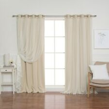 Tulle Lace Overlay Blackout Curtain - Set of 2 panels