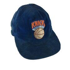 Vintage New York Knicks Corduroy Snapback Hat Blue Cap NBA Twins Supercap