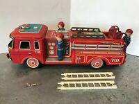 "Vtg 60s Tin Metal 12"" FD Fire Truck 8-119 Firetruck w/ Ladders Yonezawa JAPAN"