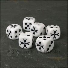 NEW 6 White Maltese Cross D6 Game Dice Set Hospitaller RPG Six Sided 16mm