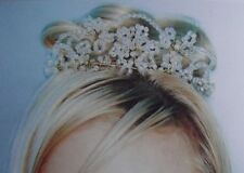 CRYSTAL FLOWER BRIDAL TIARA HEADPIECE, Gold or Silver,HANDCRAFTED, NEW,Australia
