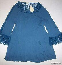 VELZERA NWT Womens PLUS 3X Blue Tunic Top Shirt Dress Lace Hippie Boho SEXY NEW