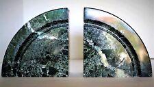 Vintage 70's Geometric Marble Bookends ~ Black & White ~ Half Circle