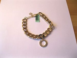 Circle Of Love Charm Bracelet (Size 7.5) in Gold Tone Brand New with Tag