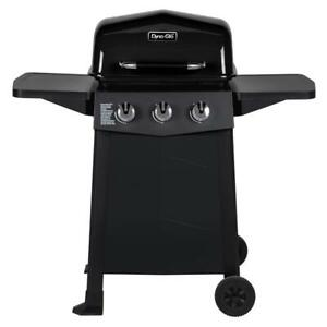 3-Burner Propane Gas Grill Open Cart Black BBQ Porcelain-Coated Steel Grate Grid