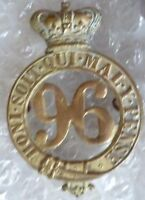 Badge- VICTORIAN 96th Regiment of Foot Glengarry Badge QVC (BRASS, ORG)