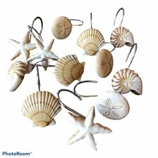Sea Shell Shower Curtain Decorative Hooks Charming Shore Decor 12 Pieces