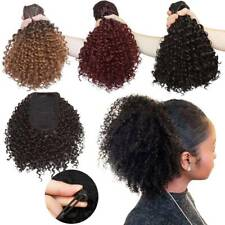 Drawstring Ponytail Kinky Curly Afro Bun Clip In Puff Pony Tail Hair Extension
