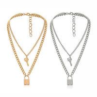 Punk Goth Padlock Long Silver Chain Lock Key Pendant Choker Necklace Jewelry