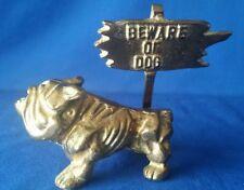 "New listing Vtg Solid Brass English Bulldog w/ ""Beware Of Dog"" Sign☆Vintage Detail & Patina☆"