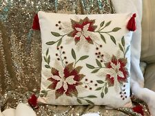 Christmas Embellished Beaded Poinsettia Pillow NWT Pier 1