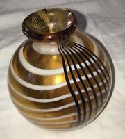 "Modern Art Glass Striped Bulb Vase Hand-blown Gold Black White New 5"" Tall"