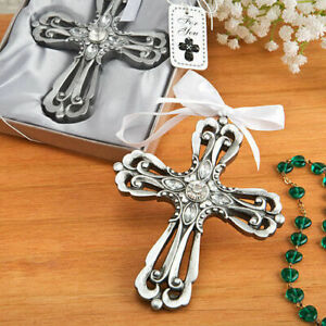 Silver Cross Ornament with Antique Finish Christening Favors Set of 3