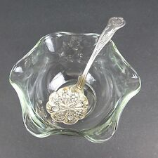 Vtg Berry Jam Spoon Silverplate 5 inch Ruffled Edge Glass Bowl Made in England