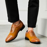 Gentle Mens Brogue Pointed Toe Suede Leather Wedding Formal Business Dress Shoes