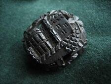 Victorian bog oak Irish carved Blarney castle brooch shamrock detail mourning