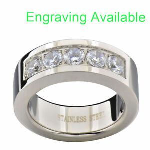 8mm Stainless Steel Round Cubic Zirconia Men Wedding Ring Band (Engraving Avail)
