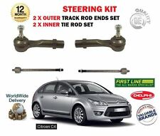 FOR CITROEN C4 2007->NEW 2x INNER 2x OUTER STEERING TIE TRACK RACK ROD END