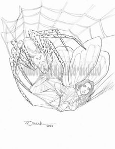 Sexy BUTTERFLY ELF & SPIDER original fantasy pin-up art by JOE ORSAK