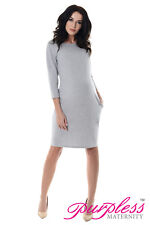 Purpless Maternity Casual Pregnancy Tulip Dress Tunic Top With Pockets 6107 Light Gray UK 18