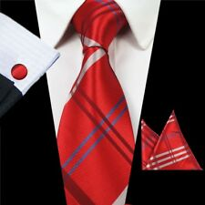 Premium Silk Red Men Tie Set With Matching Pocket Square Cufflinks
