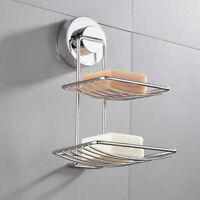 Chrome Suction Double Soap Dish Holder Tray Rack Bathroom Shower Accessory