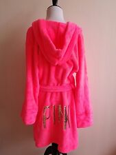 VS VICTORIAS SECRET PINK PLUSH HOODIE ROBE NEON PINK LOGO SEQUIN BLING GOLD XS/S