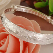 Silver Fashion Lovely Fish and Lotus Flower Women's  Bangle Bracelet KY