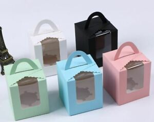12x Single Cupcake Carrier Boxes Wedding Favour Birthday Baby Shower Gift Box