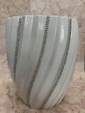 Bella Lux White Rhinestone Swirl Ceramic Waste Basket Bath Accessory New!