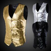 Men V Neck Metallic Shiny Gilet Stage Culb Sleeveless Jacket Vest Top Waistcoat