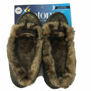NEW Isotoner Women's Size Small 5 - 6 Memory Foam Moccasin Slippers Gold Brown