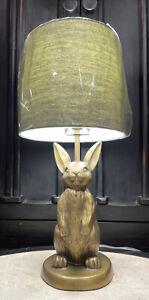 "Emily & Meritt Pottery Barn Teen brass bunny lamp with blue shade 22"""
