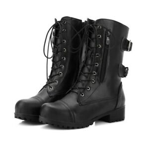 Casual College Style Flat Bootie Womens Faux Leather Zip Buckle Lace Up Boots