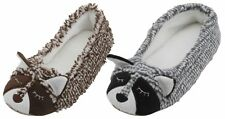 Slumberzzz Ladies Two Tone Racoon Character Ballet Slippers