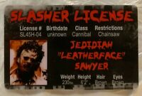 Leatherface Slasher License ID Drivers Horror Movie Texas Chain saw Massacre