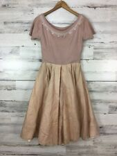1950s Vintage Pink Sweater Top Beaded Chiffon Layer Skirt Prom Party Blush Pink