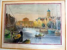 FRAMED HANDCOLOURED STEEL-ENGRAVING: AMSTERDAM~ca. 1860~G.G. LANGE, DARMSTADT