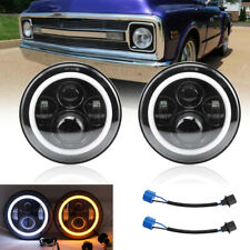 Pair 7inch DRL 200W DOT LED Headlights For Chevy C10 K10 Pickup Camaro G10 G20