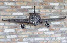 Large rustic metal aeroplane wall clock ornament, industrial style plane clock