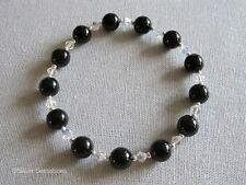 Black Onyx Gemstones, Sparkly Rainbow Crystals & Sterling Silver Beaded Bracelet