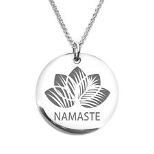 Namaste Lotus Yoga Beach Laser Engraved Stainless Steel Necklace