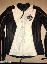 Harley Davidson Women Pink Label Colorblocked Black Leather Jacket 97010-14VW XS