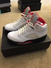 New With Receipt 2013 Nike Air JORDAN 5 V White Fire Red Black Sz 9
