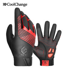 Winter Bike Gloves Windproof Thermal Full Finger Cycling Gloves Touch Screen Red
